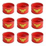 Ecparty Superhero Slap Bracelet for Kids Boys & Girls Birthday Party Supplies Favors (9 pack) (wonderwoman)