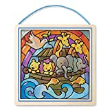 Melissa & Doug 8581 Peel and Press Stained Glass Sticker Set: Noah's Ark-90 Plus Stickers, Wooden Frame