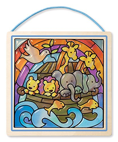 Melissa & Doug Peel and Press Stained Glass Sticker Set: Noah's Ark - 90+ Stickers, Wooden Frame