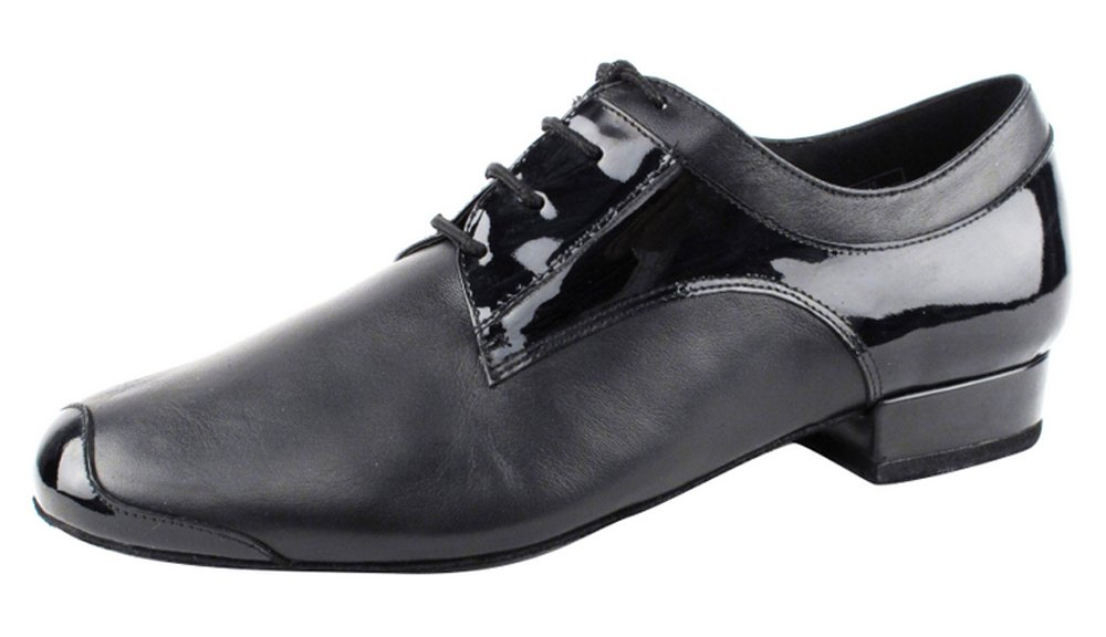 Very Fine Shoes Men's Stadard & Smooth Competitive Dancer Series CD9004A Black Leather & Patent Dance Shoes (9)