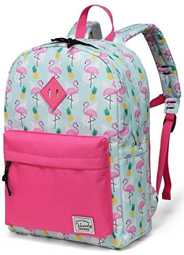 Preschool Girls Backpack,Vaschy Little Girls Backpacks for Toddler with Chest Strap Cute Pineapple Flamingos ()