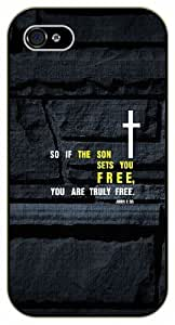iPhone 6 So if the son sets you free, you are truly free - John 8:36 - Cross over rocks - Bible verse black plastic case / Christian Verses by ruishername