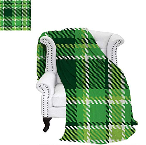 """Digital Printing Blanket Old Fashioned Irish British Tile Mosaic in Vibrant Green Colors Summer Quilt Comforter 50""""x30"""" Emerald Lime Green White"""