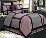Eastern King Bed in a Bag Comforter Set 12 Piece Luxury Complete Bed in a Bag King Size (106x92) - with Sheets Bed Skirt and Decorative Pillows - Modern Color Block Oversized Bedding Purple Grey