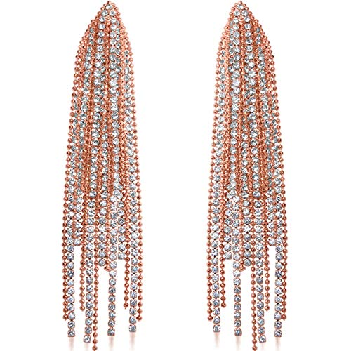 Humble Chic Simulated Diamond Earrings - Oversized Darling Waterfall Tassel CZ Statement Chandelier Studs, Rose Gold-Tone Cascade, Pink, Hypoallergenic