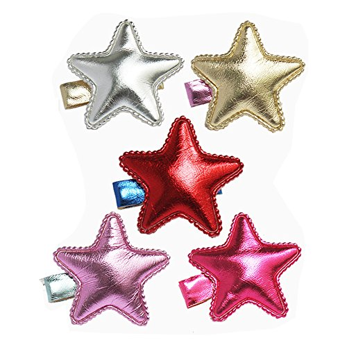 Price comparison product image Lovely Bling Star Hair Clips Colorful Star Hair Bow Cuter Kids Toddlers Girls Hair Clips Christmas Party Hair Style