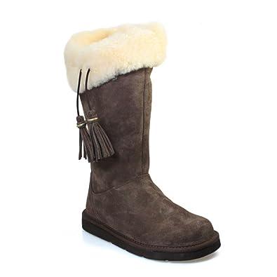 UGG® Australia Plumdale Womens Espresso Brown Suede Sheepskin High Boots  1894 (Size 5.5 UK