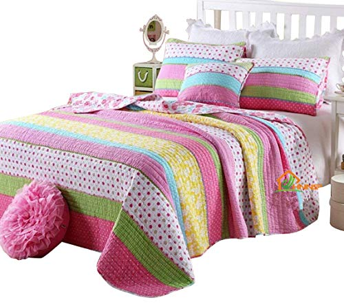 HNNSI Queen Size Kids Girls Comforter Quilt Sets 3 Pieces, Pink Dot Striped Comfy Cotton Girls Bedspread, Pretty Girls Bedding Set