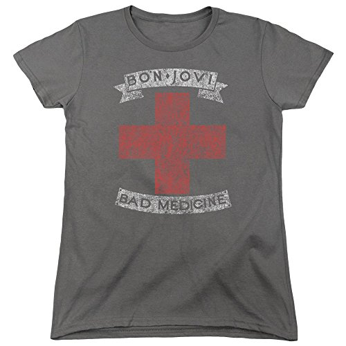 Licensed Bon Jovi Bad Medicine Women's Cap Sleeve T-Shirt, S to XXL