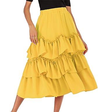 FELZ Falda Larga Mujer Falda Mujer Talla Grande Falda de la Torta ...