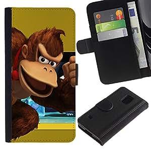 LECELL--Cuero de la tarjeta la carpeta del tirón Smartphone Slots Protección Holder For Samsung Galaxy S5 V SM-G900 -- Burro Rey --