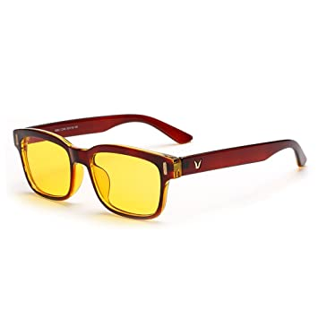 2c2dd76225 Rnow Gafas de ordenador antibrillo de tinte amarillo contra la fatiga  ocular ideal para videojuegos, hombre Niños Infantil Unisex mujer, canela:  Amazon.es: ...