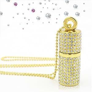 Techkey USB 3.0 USB Flash Drive,Bling Rhinestone Diamond Crystal Glitter Lipstick Case Shining Jewelry Necklace,64GB,Luxury Gold