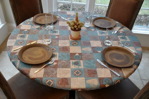 Elastic Edged Flannel Backed Vinyl Fitted Table Cover - GLOBAL COFFEE Pattern - Large Round - Fits tables up to 45
