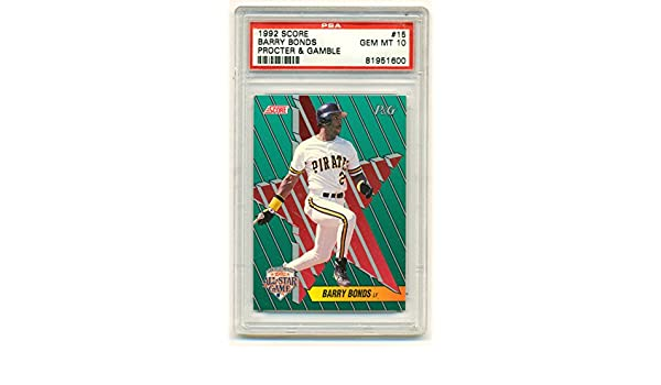 1992 Score Barry Bonds 15 Graded Psa Gem Mint 10 Baseball