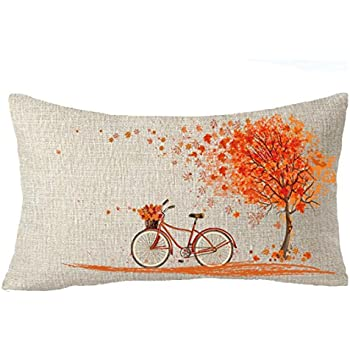 Happy autumn Fall Big tree Maple Leaf bicycle Throw Pillow Cover Cushion Case Cotton Linen Material Decorative 12''x20'' color 2