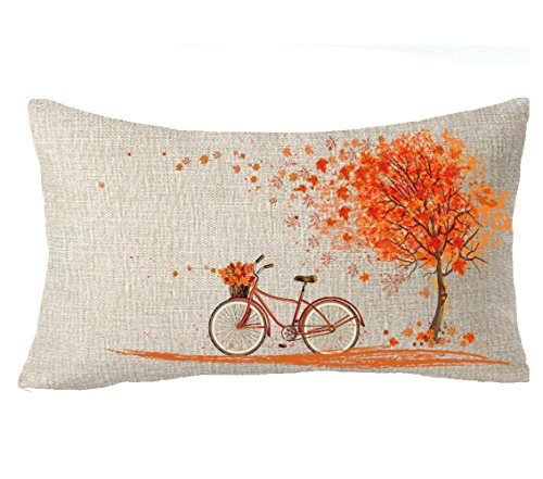FELENIW Happy Autumn Fall Big Tree Maple Leaf Bicycle Throw Pillow Cover Cushion Case Cotton Linen Material Decorative 12''x20'' Color 2