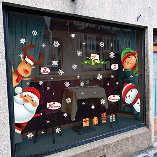 Wall Stickers - Christmas Snowflake Wall Sticker Window Glass Santa Snowman Elk Elf Gift Sticker Mural for Kids Room Door Home Decor - by tto - 1 PCs -