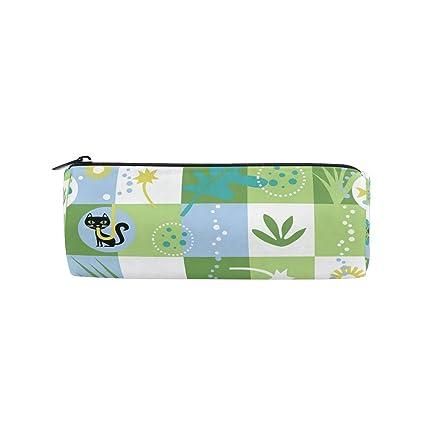 BONIPE - Estuche para lápices, diseño de gatos, color verde y blanco