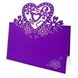 50pcs Pack Cut Love Heart Laser Wedding Party Table Name Place Cards Wedding Party Birthday Christmas Decoration Favour (purple)