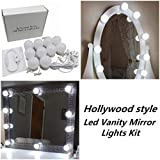 diy corner makeup vanity table Hollywood Style LED Vanity Makeup Mirror Lights Kit with 10 Dimmable Bulbs,Lighting Fixture Strip for Makeup Vanity Table Set in Dressing Room(Mirror Not Included)