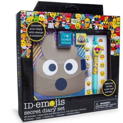 HOT SELLER!!!!! ID.Emojis Poop Secret Diary Set (Diary With Lock and Key 60 Sheets, Click Pen, Stamp Pad, Stamper, 2 Sticker Sheets (Printable Halloween Coloring Sheets)