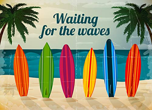 (Elegant-Prints 3666: Presents Vivid Beach Surf Boards Print Soft Waffle Faberic Shower Curtain for Bathroom 72x72 inches Perfect for Children, Kids, Boys, Girls)