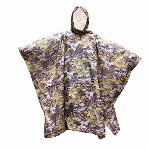 Mega Shop Rain Ponchos Drawstring Camouflage Raincoat Tent Mat Awning Climbing Camping Hiking Backpack Waterproof Poncho 3 in 1 Multifunctional Outdoor (Green)