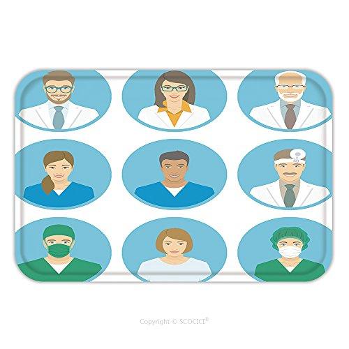 Flannel Microfiber Non-slip Rubber Backing Soft Absorbent Doormat Mat Rug Carpet Medical Clinic Staff Flat Avatars Of Doctors, Nurses, Surgeon, Assistant, Patient. Vector Round Portraits, Account Prof