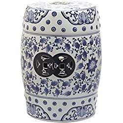Safavieh Castle Garden's Collection Glazed Ceramic Blue And White Painting Tao Garden Stool