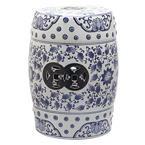 Safavieh Castle Gardens Collection Tao Blue and White Glazed Ceramic Garden Stool (Blue And White Garden)