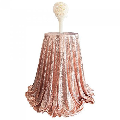 Haperlare 48 inch Round Tablecloth Sparkly Sequin Rose Gold Tablecloth Glitter Rose Gold Sequin Tablecloth Wedding Tablecloth for Home Birthday Party Banquet Wedding Table Decoration for $<!--$19.99-->