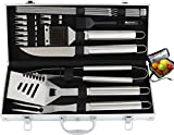 ROMANTICIST 20pc Heavy Duty BBQ Grill Tool Set with Bonus Cooler Bag for Men Dad in Gift Box - Outdoor Camping Tailgating Barbecue Gril Accessories in Aluminum Case