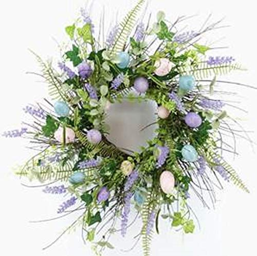 Wreaths For Door Wild Grass and Egg Spring Wreath for Easter Front Door with Lavender Buds Pastel Blue Pink Purple Plastic Easter Eggs Ferns Twig Base Farmhouse Easter Wreath Decor 21 Inch