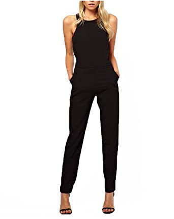 Amazon Com Zanzea Women Elegant Sleeveless Halter Neck Jumpsuit