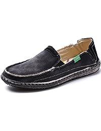 Mens Slip on Deck Shoes Canvas Loafer Vintage Flat Boat Shoes