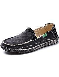 Vilocy Men's Slip on Deck Shoes Canvas Loafer Vintage Flat Boat Shoes