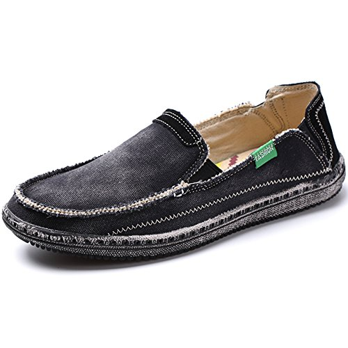 VILOCY Men's Slip on Deck Shoes Canvas Loafer Vintage Flat Boat Shoes Black 44