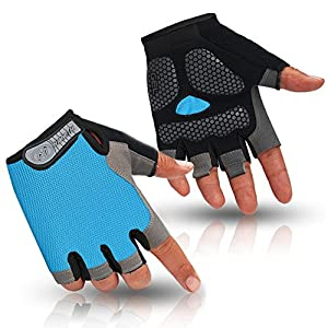 HuwaiH Cycling Gloves Men's/Women's Mountain Bike Gloves Half Finger Biking Gloves   Anti-slip Shock-absorbing Gel Pad Breathable Cycle Gloves (Sky Blue, Medium(Famale))