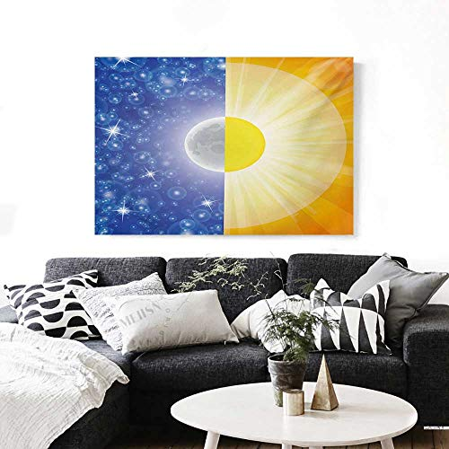 Space The Picture for Home Decoration Split Design with Stars in The Sky and Sun Beams Solar Balance Nature Image Print Customizable Wall Stickers 24
