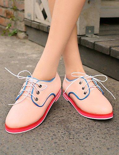 Talon 5 Njx Beige Cn40 amp; Bureau Richelieu Femme Arrondi Plat Travail Pink Chaussures 5 Uk6 Similicuir Habillé Eu39 Rose Noir Bout us8 rqTr1z8