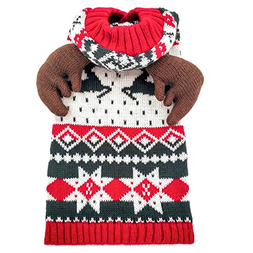 kyeese Dog Sweater Hoodie with Leash Hole for Large Dogs Reindeer Snowflake Red Dogs Knitwear Pullover Pet Sweater…