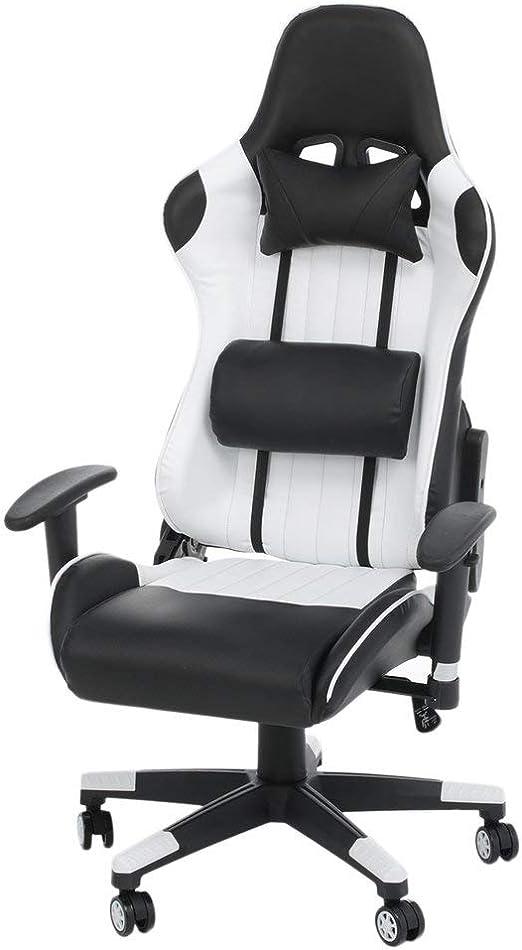 Sedia gaming cozime girevole da ufficio, 2 cuscini computer schienale alto con poggiatesta supporto lombare B07KBW4N79