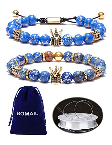 BOMAIL 8mm Imperial Crown Bead Bracelet King&Queen Luxury Charm Couple Jewelry Adjustable -
