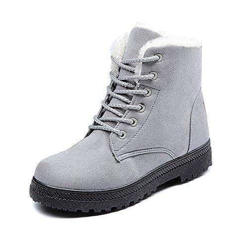 Gris Chaussures Lacets Soixante Bottines Cuir Simili Boots En Femme À zwUOZq