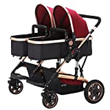 TZ Twin Lightweight Stroller Double Baby Pram (Red)