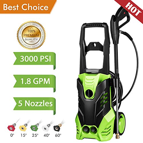 Kioles 3000 PSI Electric Pressure Washer, High Pressure Washer, Professional Washer Cleaner Machine with 5 Interchangeable Nozzles, 1800W Rolling Wheels,1.80 GPM (Size -