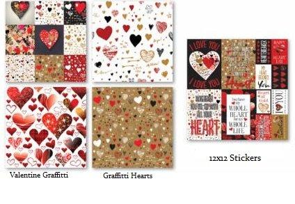 12x12 Scrapbook Paper /& Stickers Set Graffiti Valentine Heart by Reminisce
