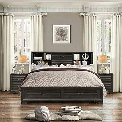 Roundhill Furniture Loiret 236 Antique Grey Size Storage Platform Bed, King-P