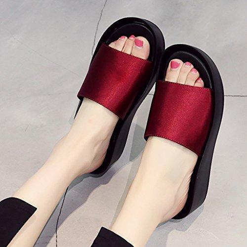 PENGFEI Chanclas de playa para mujer Zapatillas de playa de verano Mujer Casual de la moda antideslizante Pendiente con sandalias Negro, verde y rojo Cómodo y transpirable ( Color : Rojo , Tamaño : EU Rojo